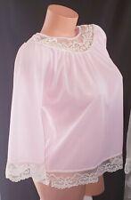 Vintage 50's Nylon Creamy Pink Lacy Boho Poet Blouse Top Night Shirt Sz S