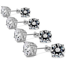 925 Sterling Silver High Quality Basket Set Round CZ Post Stud Earrings