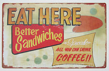 Eat Here Sandwiches Coffee TIN SIGN metal vtg/retro diner wall decor kitchen OHW