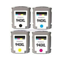 4PK New Hi-Yield BK C M Y Ink For HP 940XL OfficeJet Pro 8000 8500 Series w/Chip