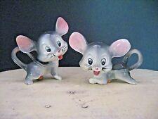 Vintage Pink Gray Smiling Big Ears Mice Mouse Salt Pepper Shakers