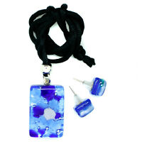 Murano Glass Pendant and Earrings Set Blue Silver White Millefiori Venice