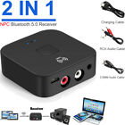 Wireless Bluetooth 5.0 Receiver 3.5mm Aux NFC to 2RCA Audio Adapter for Phone TV