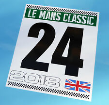 LE MANS 24 HOURS 'CLASSIC' 2018 PAIR of DOOR NUMBER stickers decals