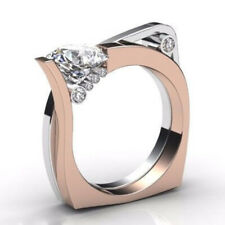 Fashion Two Tone 925 Silver Rings Women White Sapphire Wedding Ring Size 6