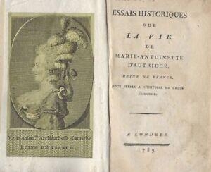 Révolution Pamphlet Essais Historiques sur la Vie de Marie-Antoinette 1789