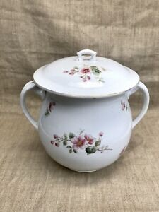 Large Antique Porcelain Flour Staples Caddy Canister Hand Painted Roses