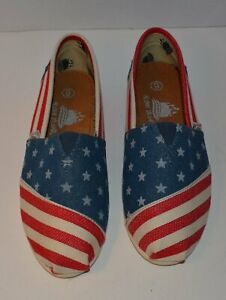 Aloha Island Toms Style Women's American Flag Canvas Shoes Size 6 NWOB