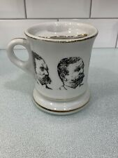 VINTAGE MUSTACHE CUP / MUG WITH PICTURES OF MEN OF THE PAST Gold Trimmed