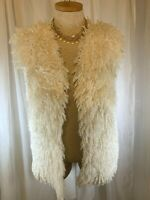 Sz Large Lisa Vest Faux Fur Cream COZY Fuzzy Puffy Super Soft BoHo