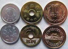 """Japan set of 3 coins 2004 """"1+5+10 yen"""" UNC KM# 95-97"""