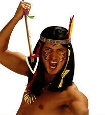 Da Uomo Indiano Rosso Nero Parrucca Nativo Americano Cowboy Wild West Geronimo Fancy Dres