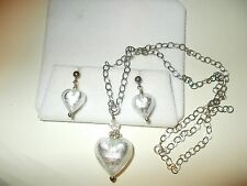 Frosted Art Glass Puffed Hearts Crystals & Sterling Earrings Necklace Set  MINT