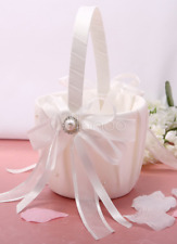 Ivory Flower Girl Basket with Ribbons