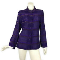 Analogy Purple Shirt Top size M Crinkle Velvet Sheer Women's  Mandarin Collar