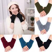 1Pair Cashmere Fingerless Arm Warm Winter Gloves Hand Mittens Warmer Long B6U2