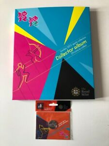 2012 Olympic 50p Full Set Uncirculated In Album & Sealed In Bag Completer Coin