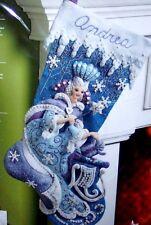 Bucilla~FROZEN~ SNOW QUEEN Felt Christmas Stocking Kit Fairy Princess Blue White