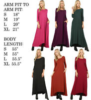 USA WOMENS SOFT STRETCHY KNIT 3/4 SLEEVE SOLID POCKETS LONG CASUAL MAXI DRESS