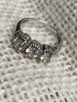 Xavier sterling silver 3 stone Absolute cz vintage style ring size 5