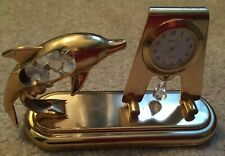 Dolphin 24 k gold plated Austrian crystal delight mini clock