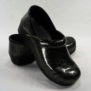 Dansko Clogs Womens Size 41 Black Silver Wavy Swirls Slip on Comfort Shoes