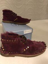 Prada Authentic Runway Red Burgundy Berry Chukka Boots 38.5 Calf Hair EUC