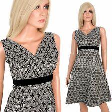 Vtg 50s 60s Fit-Flare Dress Black White Velvet Flocked Gingham Taffeta Party - S