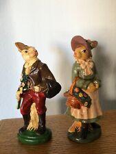 Vintage Katherine'S Collection Painted Bunny Rabbits Set Figurine Flower 6.5�