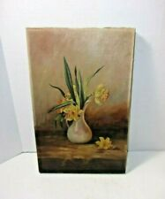 Antique Vintage Oil on Canvas Painting Vase with Flowers