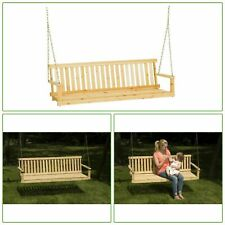 5ft Wooden Outdoor Patio Porch Swing Hanging Bench Steel Chains Traditional Tool
