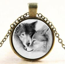 Bronze Wolf Halskette Metall Kette Glas Cabochon Anhänger Geschenk  schwarz