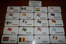 World Flags flash cards.  Preschool and Pre Kindergarten learning activity.  20