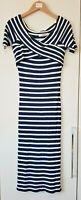 Oasis Women's Dress Size Small Navy Blue White Stripe Casual Evening Ocassion