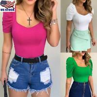 Women Puff Sleeve Tops Shirt Ladies Short Sleeve T-Shirt Casual Slim Fit Blouse