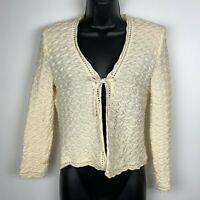 St John Collection jacket 6 sweater cream shrug tie front cardigan pucker 3/4