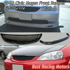 Mu-gen Style Front Lip (Urethane) + TR Style Grill (ABS) Fit 01-03 Civic 2/4dr