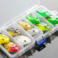 10x Frog Fishing Lures Treble Hooks Topwater Crankbait Tackle Bass Minnow Baits