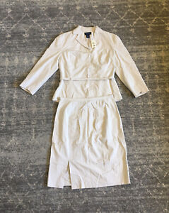Ann Taylor Womens Size 2 Suit Set Khaki Skirt Knee Length Belt Collar NWT F1