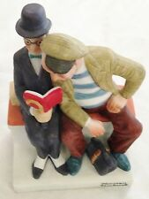 "Norman Rockwell Humor 6"" The Interloper Men w Book Danbury Mint Figurine"