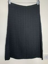 Phase Eight Cable Knitted Skirt Size L Black Very Dark Grey Wool Mix Midi