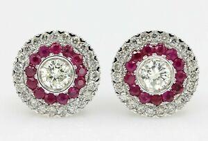 Art Deco Ruby Earring 18K White Gold Diamonds & Ruby Earrings Large Studs