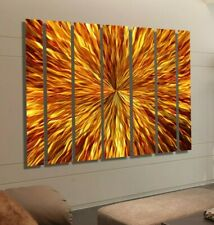 "Large 68""×48"" Amber Metal Wall Art Abstract Modern Painting Designer Jon Allen"