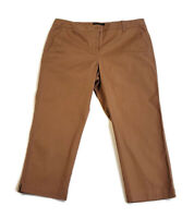 Talbots Signature Crop Pants Brown Cotton Stretch Straight Twill Women's Size 10