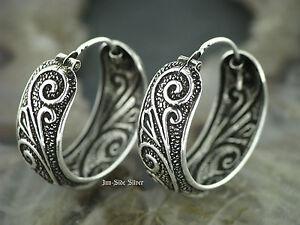 1 Paar Ohrringe CREOLEN 925er Silber TRIBAL Ohrschmuck Keltisch Tattoo Style