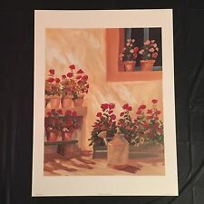 1996 vintage ROBERT WHITE print--COTTAGE FLOWERS II--litho USA--19x25--SIGNED