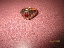 LADY GOLD PLATED Ring Size 6.5 RED STONE FAUX RUBY OR GARNET COSTUME + GIFT BOX
