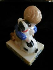 """Me Inc. Boy & Dog Bank """"Everyone Needs Their Own Spot"""" Vintage 1994 Orig Stopper"""
