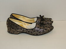 1950's Black / Gold Brocade Slippers Unworn Comfy 2A85 Appx 8 1/2