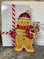 "Temp-tations 16"" Cardinal Gingerbread Serving Platter Plate Stoneware Christmas"